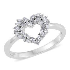 Diamond (Bgt) Heart Ring in Platinum Overlay Sterling Silver 0.250 Ct.