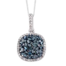 Blue Diamond (Bgt), White Diamond Cluster Pendant with Chain (Size 20) in Platinum Overlay Sterling Silver 0.750 Ct.