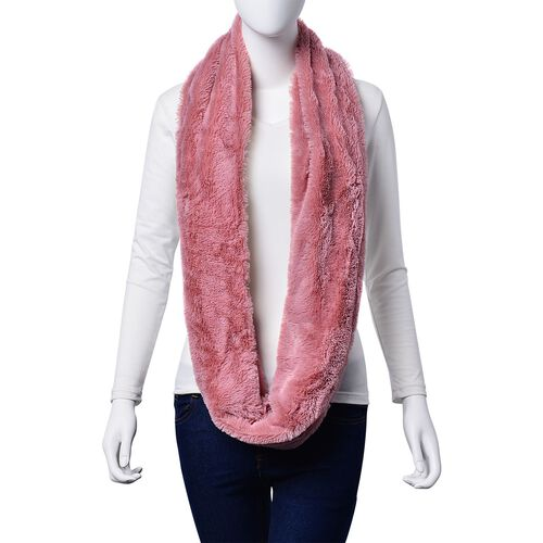 Designer Inspired Double Layered Infinity Pink Scarf (Size 20X80 Cm)
