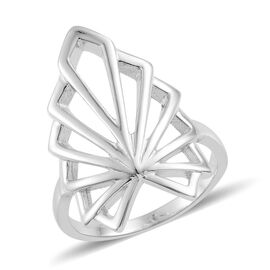 LucyQ Art Deco Ring in Rhodium Plated Sterling Silver 4.94 Gms.