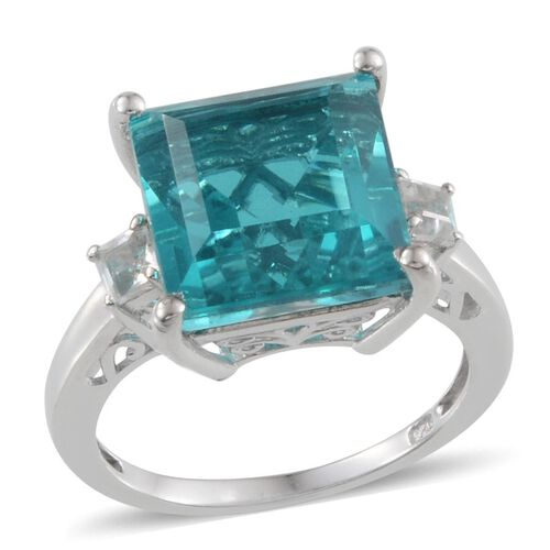 Capri Blue Quartz (Sqr 10.50 Ct), White Topaz Ring in Platinum Overlay Sterling Silver 11.000 Ct.