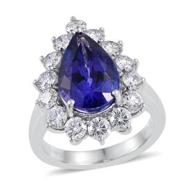 RHAPSODY 950 Platinum AAAA Tanzanite (Pear 5.60 Ct), Diamond Ring 7.500 Ct.