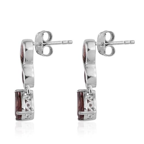 AA Umba River Zircon (Pear) Earrings (with Push Back) in Platinum Overlay Sterling Silver 3.500 Ct.