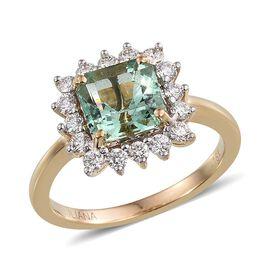 ILIANA 18K Y Gold Boyaca Colombian Emerald (Oct 1.90 Ct), Diamond Ring 2.500 Ct.