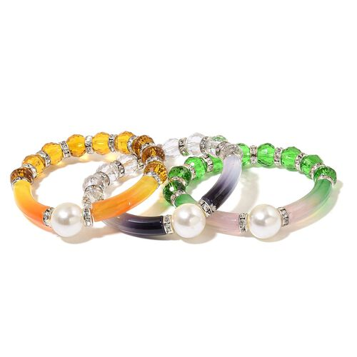 Set of 3 - Simulated Green, White and Champagne Colour Diamond and White Austrian Crystal Stretchable Bracelet (Size 7.5) in Silver Tone
