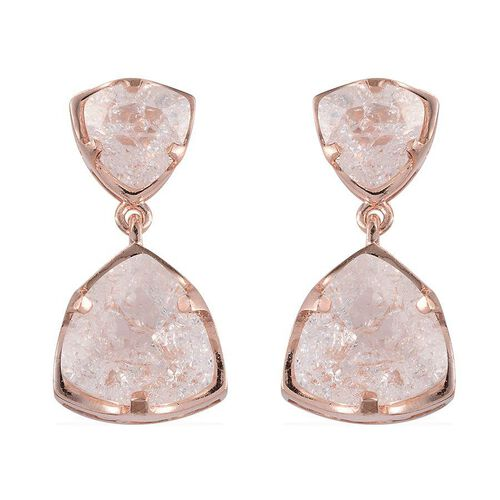 White Crackled Quartz (Trl) Earrings (with Push Back) in Rose Gold Overlay Sterling Silver 10.000 Ct.