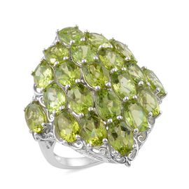 Show Stopper-Hebei Peridot (Ovl) Cluster Ring in Platinum Overlay Sterling Silver 18.500 Ct. Silver wt 9.50 Gms.