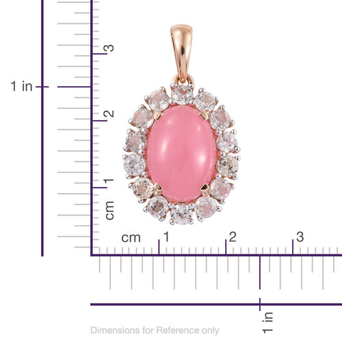 Limited Available-9K R Gold Pink Jade (Ovl 7.00 Ct), Natural Cambodian Zircon Pendant 9.500 Ct.