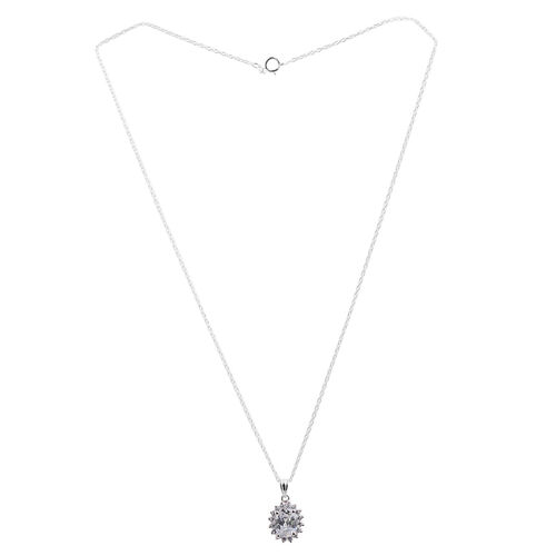 ELANZA AAA Simulated Diamond (Rnd) Pendant With Chain in Rhodium Plated Sterling Silver