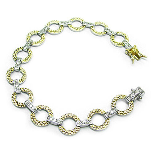 ELANZA AAA Simulated White Diamond (Rnd) Bracelet in Platinum Overlay Sterling Silver (Size 7.5)