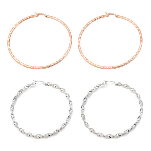Set of 2 - Close Out Deal Hoop Earrings in Rose Gold Plated and Stainless Steel