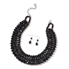 Simulated Black Spinel Necklace (Size 18) and Hook Earrings in Silver Tone