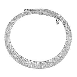 Vicenza Collection Rhodium Plated Sterling Silver Cleopatra Bar Necklace (Size 18), Silver wt 33.62 Gms.