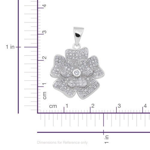 (Option 5) ELANZA AAA Simulated Diamond (Rnd) Floral Pendant in Rhodium Plated Sterling Silver
