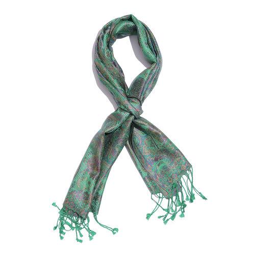 SILK MARK - 100% Superfine Silk Green, Purple and Multi Colour Floral Pattern Jacquard Jamawar Scarf with Tassels (Size 170x35 Cm)