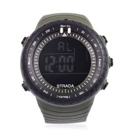 STRADA Electronic Movement LED Display Watch with Stainless Steel Back and Green Silicone Strap