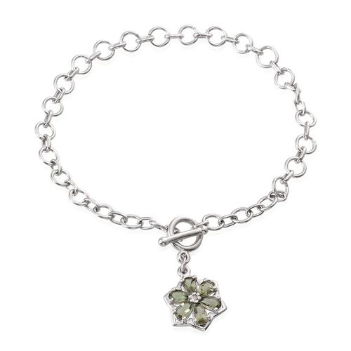 Bohemian Moldavite (Pear), Diamond Floral Charm Bracelet (Size 7.5) in Platinum Overlay Sterling Silver 0.760 Ct.