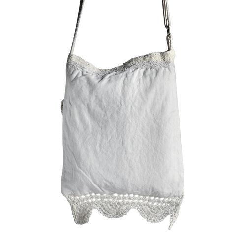 New For Season - 100% Cotton Multi Colour Floral and Leaves Printed Square Shape White Colour Shoulder Bag (Size 30x25 Cm)
