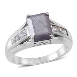 Natural Silver Sapphire (Oct 3.50 Ct), White Topaz Ring in Rhodium Plated Sterling Silver 4.000 Ct.