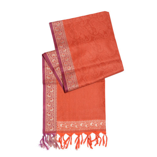Burnt Orange Colour Paisely Pattern Jacquard Scarf with Tassels (Size 180x50 Cm)