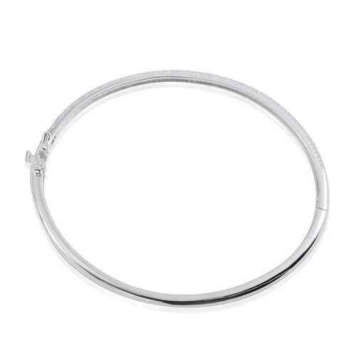 JCK Vegas Collection AAA Simulated Diamond (Rnd) Bangle (Size 7.5) in Rhodium Plated Sterling Silver