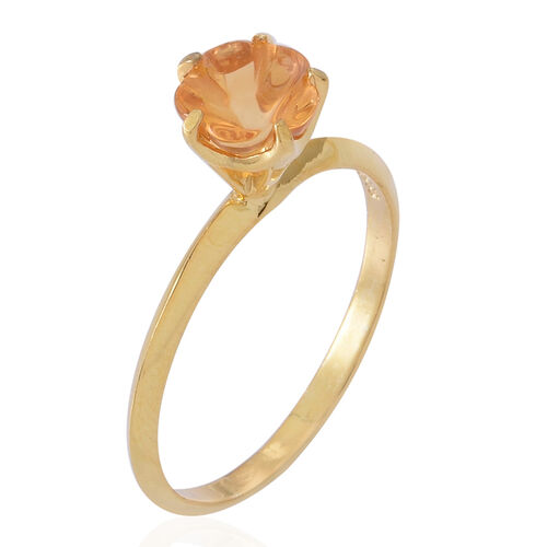 Flower Cut Citrine Solitaire Ring in 14K Yellow Gold Overlay Sterling Silver 1.250 Ct.