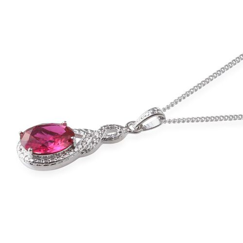 Simulated Ruby (Ovl) Solitaire Pendant With Chain in Platinum Overlay Sterling Silver 2.500 Ct.