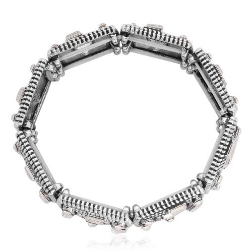 White Austrian Crystal and White Glass Stretchable Bracelet (Size 7.5) in Silver Tone