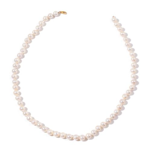 9K Y Gold Fresh Water White Pearl Necklace (Size 18)