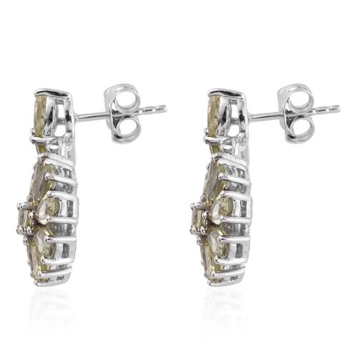 Natural Canary Apatite (Rnd) Floral Earrings in Platinum Overlay Sterling Silver 5.000 Ct.