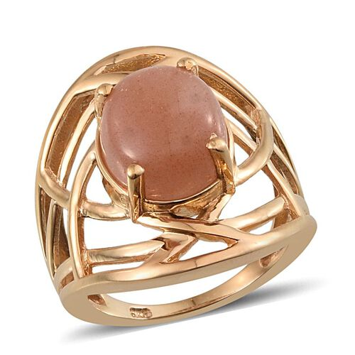 Morogoro Peach Sunstone (Ovl) Solitaire Ring in 14K Gold Overlay Sterling Silver 4.750 Ct.