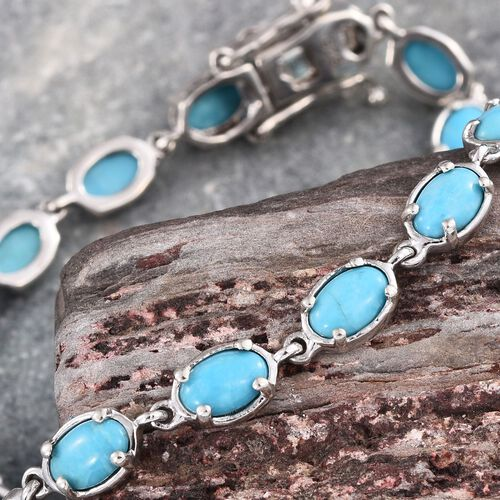 Arizona Sleeping Beauty Turquoise (Ovl) Bracelet (Size 7.5) in Platinum Overlay Sterling Silver 6.500 Ct.