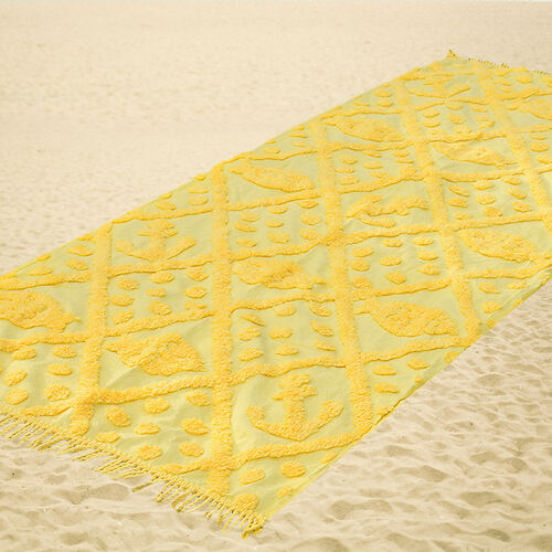 100% Cotton Tufted Fish and Anchor Yellow Beach Blanket with Fringes on Both Ends (Size 175x80 Cm)