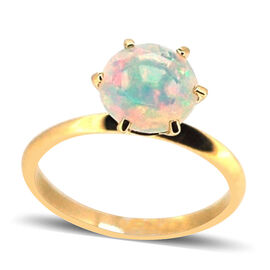 9K Y Gold Ethiopian Welo Opal (Rnd) Solitaire Ring 2.500 Ct.