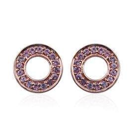 Kimberley Pink Sapphire (Rnd) Stud Earrings (with Push Back) in Rose Gold Overlay Sterling Silver 0.500 Ct.