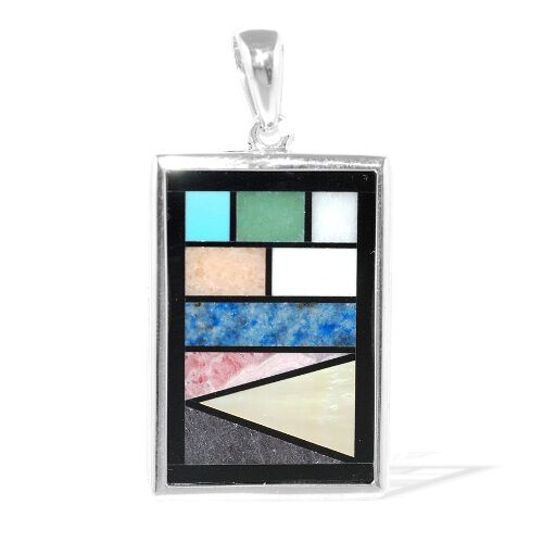Tucson Treasures Multi GemStones (3.75 Ct) Sterling Silver Pendant