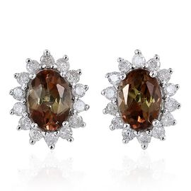9K W Gold Brazilian Andalusite (Ovl), Diamond Stud Earrings (with Push Back) 2.000 Ct.