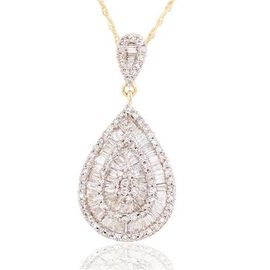 ILIANA Italian 18K Y Gold SGL Certified Diamond (Bgt) (SI/ G-H) Teardrop Pendant With Chain 0.750 Ct.