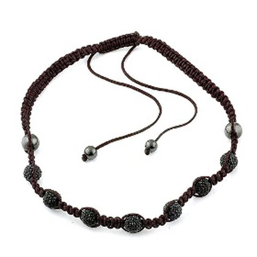 Black Austrian Crystal, Hematite Necklace (Adjustable)