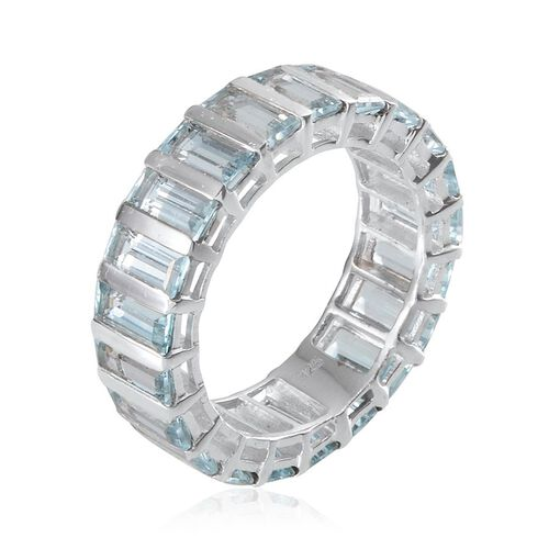 Sky Blue Topaz (Bgt) Full Eternity Ring in Platinum Overlay Sterling Silver 11.500 Ct.