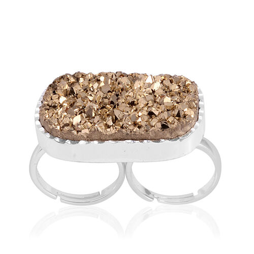 Drusy Quartz Ring in Silver Tone