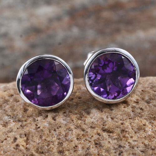 AA Lusaka Amethyst (Rnd) Stud Earrings (with Push Back) in Platinum Overlay Sterling Silver 3.500 Ct.