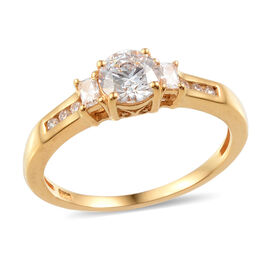 J Francis - 14K Gold Overlay Sterling Silver (Rnd) Ring Made with SWAROVSKI ZIRCONIA 1.090 Ct.