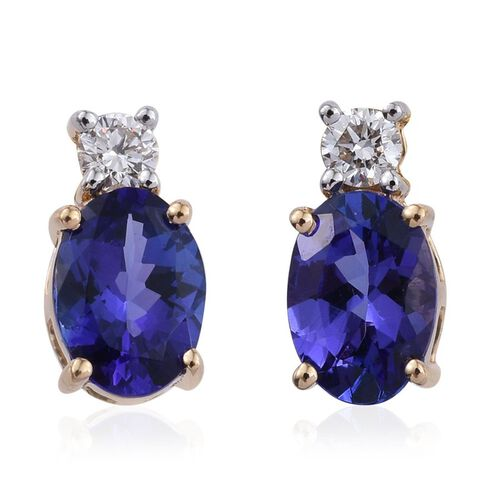 ILIANA 18K Yellow Gold  2 Carat AAA Tanzanite Oval, Diamond SI G-H Stud Earrings with Screw Back.