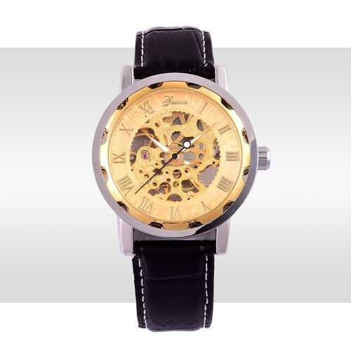 GENOA Automatic Skeleton Golden Dial Water Resistant Watch in Silver Tone with Stainless Steel Back and Black Strap