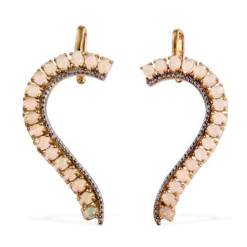 AA Ethiopian Welo Opal (Ovl), Diamond Earrings (with Push Back) in 14K Gold Overlay Sterling Silver 3.760 Ct.