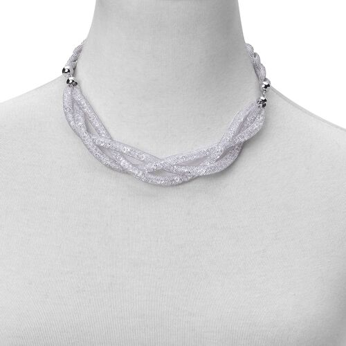 White Austrian Crystal Necklace (Size 18 with 2 inch Extender) in Silver Tone