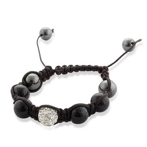 Shamballa Friendship Blue Sand Stone, White Austrian Crystal and Hematite  Bracelet (Adjustable)  65.010  Ct.