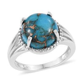 Blue Turquoise (Rnd) Solitaire Ring in Platinum Overlay Sterling Silver 6.750 Ct.
