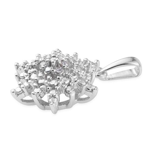 Diamond (Rnd) Starburst Pendant in Platinum Overlay Sterling Silver